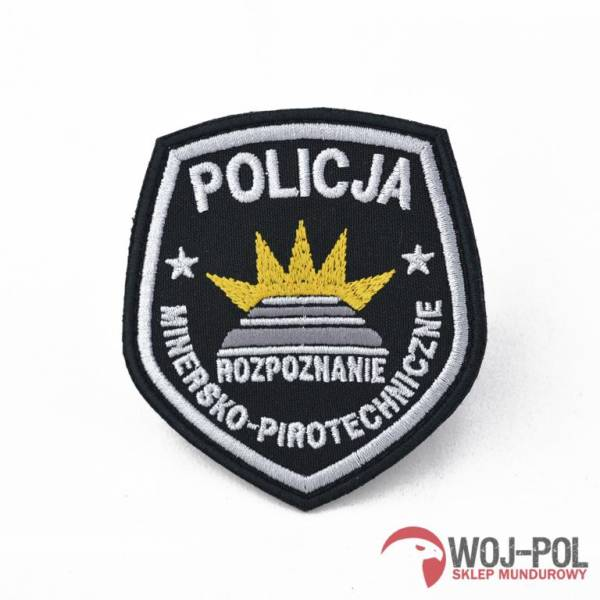 Emblemat policja rozpoznanie minersko pirotechniczne czarna z rzepem
