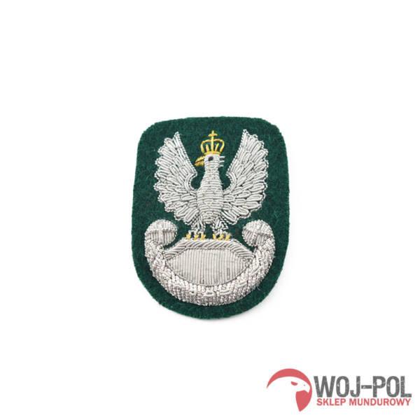 Orzełek haftowany bajorkiem na beret zielony