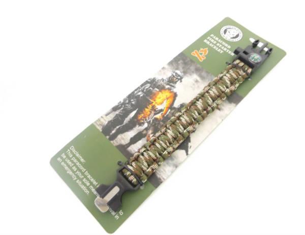 Bransoletka survival paracord kolor zielony moro