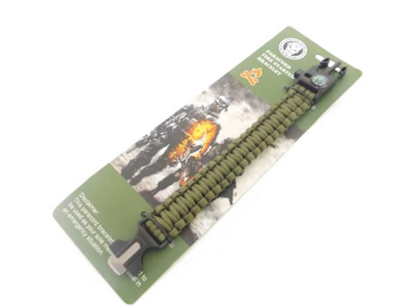 Bransoletka survival paracord kolor zielony