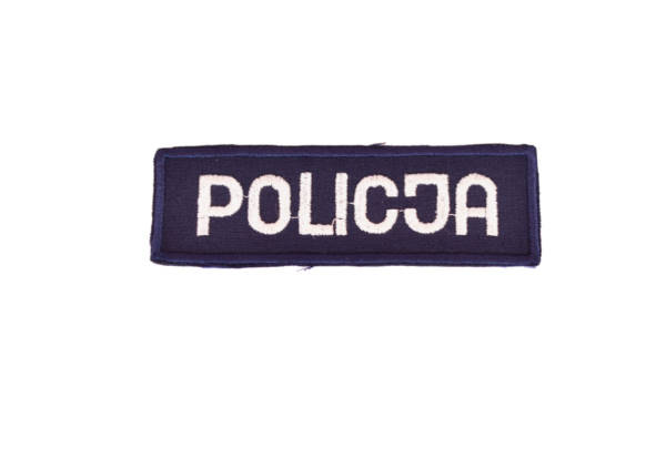 Emblemat policji – podłużny granatowy
