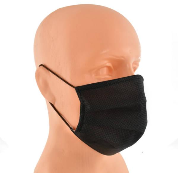 Maska maseczka na twarz trójwarstwowa czarna
