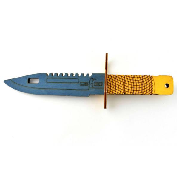 Drewniany nóż karambit żółto – niebieski