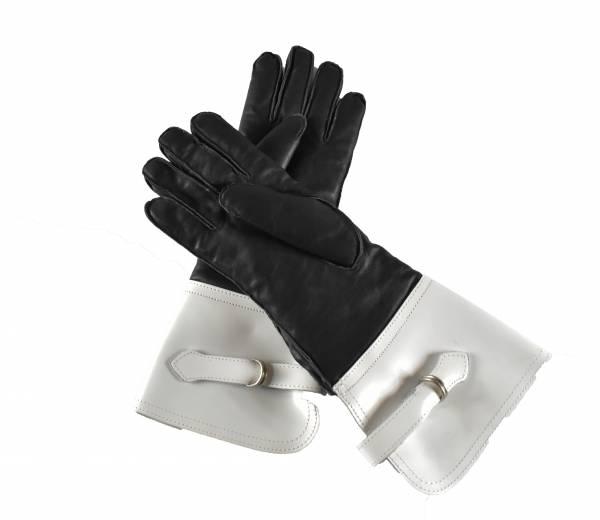 Rękawice skórzane zimowe z białymi mankietami rozmiar 23