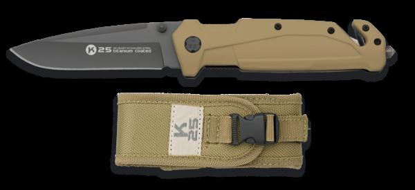 Nóż scyzoryk taktyczny k25 tan model 18487+ etui