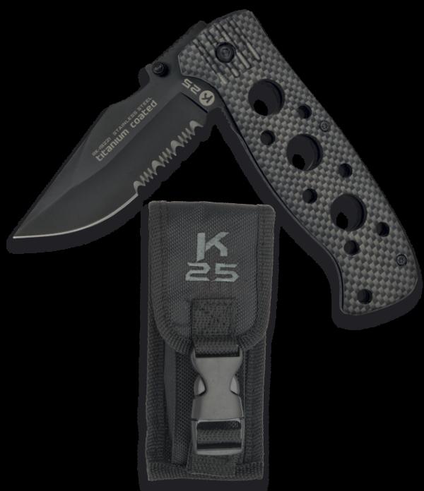 Nóż taktyczny k25 z włókna węglowego model 19221 + etui